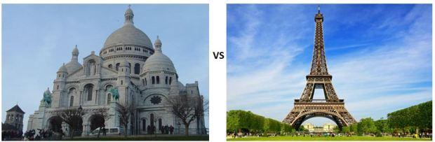 Sacre-Cœur in Montmartre v Eiffel Tower