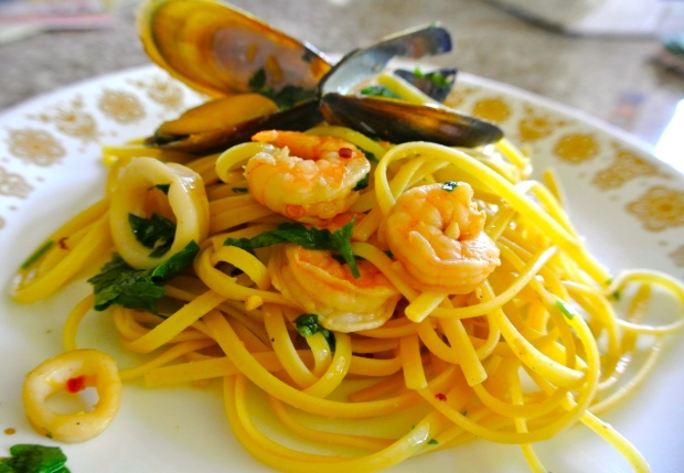 Seafood Pasta with Garlic and Oil